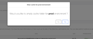 Confirmation message of clear cache directory
